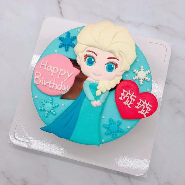 Q版艾莎公主卡通造型ELSA蛋糕,台北迪士尼生日蛋糕推薦