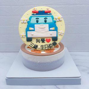波力車子造型蛋糕推薦,救援小英雄POLI卡通蛋糕宅配