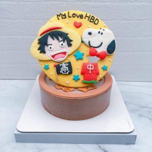 台北客製化生日蛋糕推薦,海賊王魯夫與史奴比的造型蛋糕