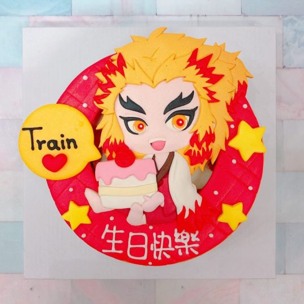 鬼滅之刃九大柱之炎柱煉獄杏壽郎生日蛋糕,日本最紅的動漫卡通造型客製化蛋糕