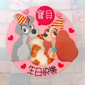 迪士尼造型客製化宅配蛋糕推薦,迪士尼流氓與小姐造型生日蛋糕
