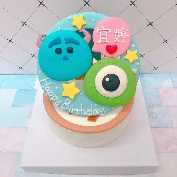 怪獸電力公司客製化宅配生日蛋糕推薦,毛怪大眼仔卡通造型蛋糕