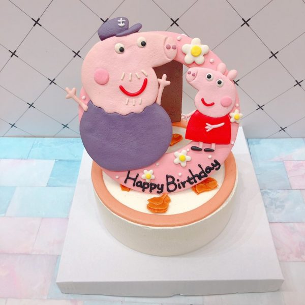 佩佩豬卡通造型蛋糕,可愛粉紅豬小妹生日蛋糕,小豬佩奇Peppa Pig ,豬爺爺與粉紅豬小妹