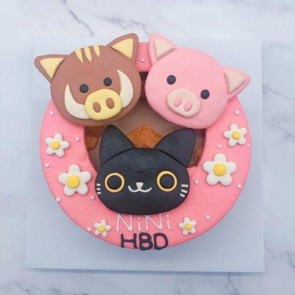超可愛黑貓生日蛋糕,豬/牛客製化造型蛋糕宅配