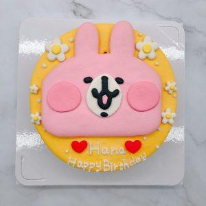 卡娜赫拉生日蛋糕,粉紅兔兔造型蛋糕作品分享