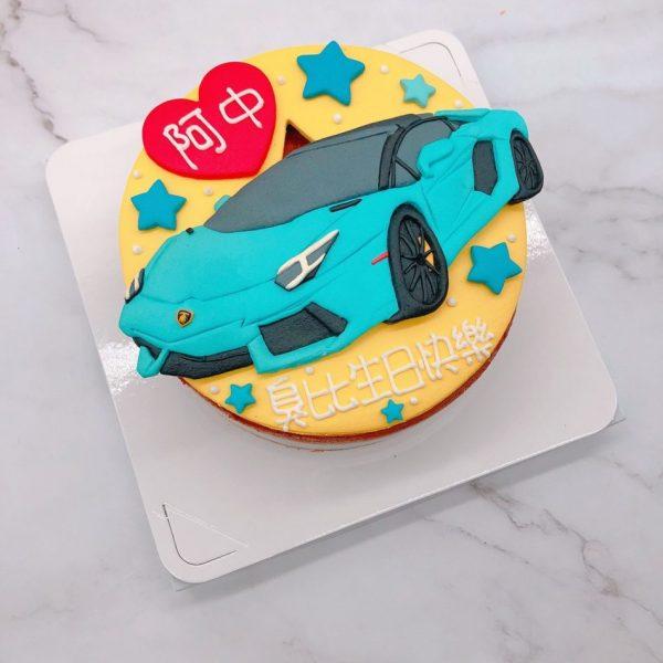 藍博基尼車子生日蛋糕,Lamborghini汽車造型蛋糕宅配