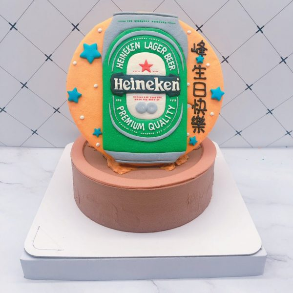 海尼根手作造型蛋糕,啤酒生日蛋糕作品分享