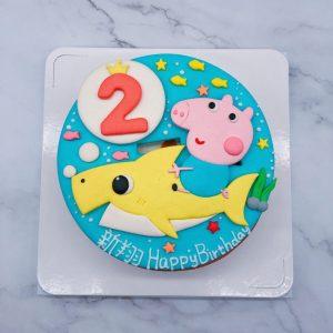 喬治豬生日蛋糕推薦,鯊魚寶寶造型蛋糕宅配