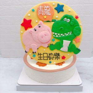 抱抱龍造型蛋糕推薦,玩具總動員火腿豬生日蛋糕宅配