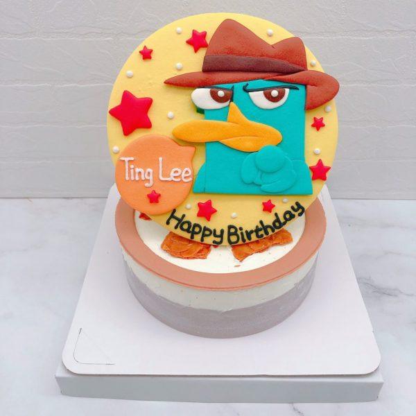 鴨嘴獸泰瑞生日蛋糕推薦,卡通造型客製化蛋糕宅配分享