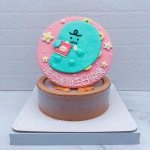Jordy吃洋芋片造型蛋糕手作推薦,綠色小恐龍生日蛋糕分享