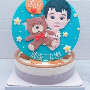 Q版小孩人像造型蛋糕推薦,抱熊娃娃生日蛋糕宅配