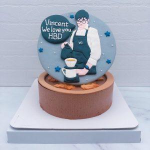 男生Q版人像生日蛋糕推薦,煮咖啡造型生日蛋糕宅配
