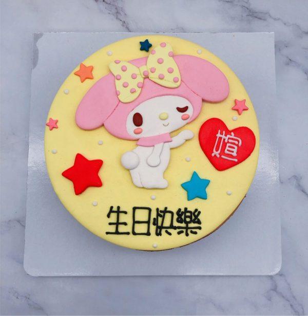美樂蒂造型蛋糕手工捏製,My Melody生日蛋糕手作分享