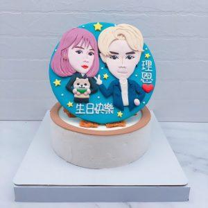 雙人Q版人像生日蛋糕推薦,客製化相片造型蛋糕宅配