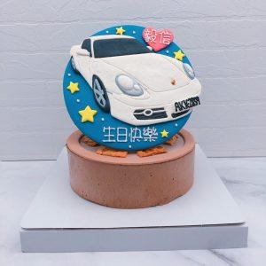 白色保時捷汽車造型蛋糕推薦,Porsche車子生日蛋糕宅配