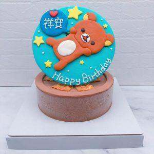 超可愛拉拉熊造型蛋糕手工捏製,懶懶熊生日蛋糕作品分享
