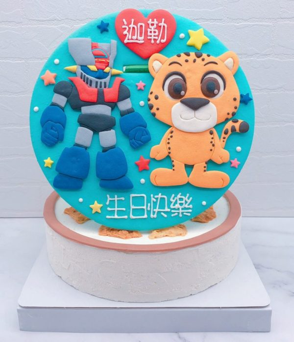Q版無敵鐵金剛生日蛋糕推薦,老虎客製化造型蛋糕宅配